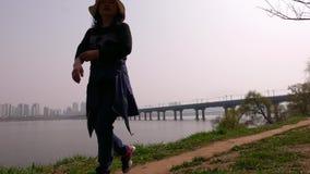 Ο κορεατικός οικογενειακός περίπατος στο πάρκο, απολαμβάνει τον ποταμό Han και το πανόραμα παγκόσμιων πύργων Lotte απόθεμα βίντεο