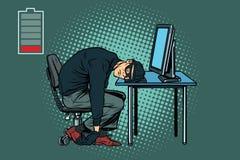 Ο κουρασμένος χάκερ είναι κοιμισμένος διανυσματική απεικόνιση