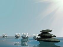 ο κρίνος χαλαρώνει το ύδωρ ηφαιστείων πετρών SPA zen Διανυσματική απεικόνιση