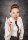 Ο 0 κραυγάζοντας δάσκαλος απειλεί από το δάχτυλο Στοκ φωτογραφία με δικαίωμα ελεύθερης χρήσης