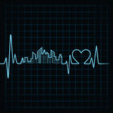 Ο κτύπος της καρδιάς κάνει ένα σχέδιο και μια καρδιά οικοδόμησης Στοκ εικόνα με δικαίωμα ελεύθερης χρήσης