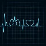 Ο κτύπος της καρδιάς κάνει τους πνεύμονες και το σύμβολο καρδιών Στοκ Εικόνα
