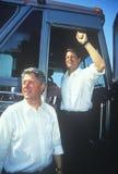Ο κυβερνήτης Bill Clinton και γερουσιαστής Αλ Γκορ στο Clinton/εκστρατεία Great Lakes Buscapade Gore το 1992 περιοδεύει Στοκ φωτογραφία με δικαίωμα ελεύθερης χρήσης