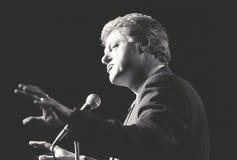 Ο κυβερνήτης Bill Clinton μιλά σε μια συνάθροιση της Νέας Υόρκης κατά τη διάρκεια του Clinton/την εκστρατεία Gore του 1992 Στοκ Εικόνα