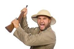 Ο κυνηγός σαφάρι που απομονώνεται στο λευκό Στοκ εικόνα με δικαίωμα ελεύθερης χρήσης