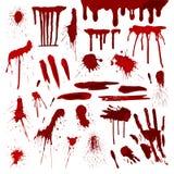 Ο κόκκινος λεκές σημείων παφλασμών splatters αίματος ή χρωμάτων λεκιάζει μπαλωμάτων το υγρό σύστασης διάνυσμα σημαδιών πτώσης gru διανυσματική απεικόνιση