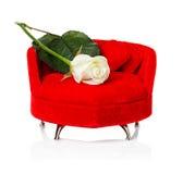 Ο κόκκινος καναπές, καναπές με το λευκό αυξήθηκε Στοκ Εικόνες