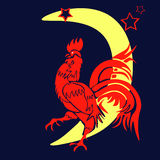 Ο κόκκινος κόκκορας ερχόμενου έτους, κινεζικό έτος του κόκκορα, τυποποιημένο Στοκ Εικόνα