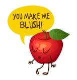 Ο κόκκινος χαρακτήρας μήλων λέει ότι με κάνετε να κοκκινίσω cartoon commander gun his illustration soldier stopwatch Στοκ εικόνες με δικαίωμα ελεύθερης χρήσης