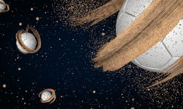 Ο κόσμος ποδοσφαίρου, ο πλανήτης ποδοσφαίρου, ο απέραντος κόσμος απεικόνιση αποθεμάτων