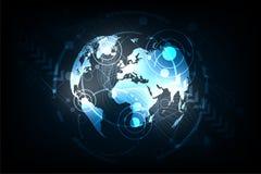 Ο κόσμος τεχνολογίας σε ένα σκούρο μπλε υπόβαθρο Στοκ Εικόνες