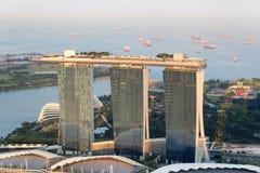 Ο κόλπος μαρινών στρώνει με άμμο το ξενοδοχείο σε Σινγκαπούρη Στοκ φωτογραφία με δικαίωμα ελεύθερης χρήσης