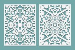 Ο κύβος και το λέιζερ κόβουν τις διακοσμητικές επιτροπές με snowflakes το σχέδιο Λέιζερ που κόβει τα διακοσμητικά δαντελλωτός σχέ διανυσματική απεικόνιση