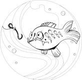 ο κύβος κινούμενων σχεδίων κάνει την αλιεία για να μην θελήσει το σκουλήκι Στοκ Εικόνες