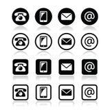 Ο κύκλος και το τετράγωνο iconsin επαφών θέτουν - κινητός, τηλέφωνο, ηλεκτρονικό ταχυδρομείο, φάκελος