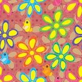 Ο κύκλος λουλουδιών σύρει το άνευ ραφής σχέδιο Στοκ φωτογραφία με δικαίωμα ελεύθερης χρήσης