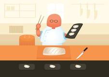 Ο κύριος αρχιμάγειρας σουσιών εξυπηρετεί τα σούσια Στοκ Εικόνα