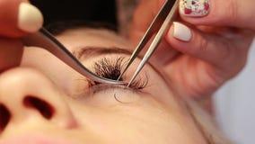 Ο κύριος κάνει eyelash τη διαδικασία επέκτασης στο σαλόνι ομορφιάς Μακροεντολή φιλμ μικρού μήκους