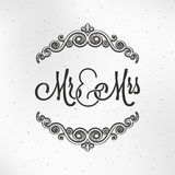 Ο κύριος και η Δεσποινίς Wedding Logo Design Background Στοκ Φωτογραφίες