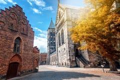 Ο κύριος λουθηρανικός γοτθικός ναός στο Lund, Σουηδία, ένα μνημείο του μ Στοκ Εικόνες