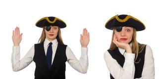 Ο κύριος πειρατής γυναικών που απομονώνεται στο λευκό Στοκ φωτογραφίες με δικαίωμα ελεύθερης χρήσης