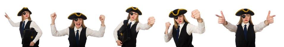 Ο κύριος πειρατής γυναικών που απομονώνεται στο λευκό Στοκ εικόνες με δικαίωμα ελεύθερης χρήσης