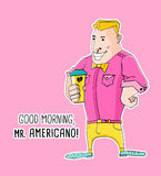 Ο κύριος Americano Coffee στο ύφος hipster απεικόνιση αποθεμάτων