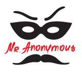 Ο κύριος Anonymous - σχέδιο ενός ξένου σε μια μάσκα Τυπωμένη ύλη για την αφίσα, φλυτζάνια, μπλούζα, διανυσματική απεικόνιση