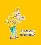 Ο κύριος Espresso Coffee στο ύφος hipster διανυσματική απεικόνιση