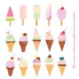 Ο κώνος παγωτού και popsicle έθεσε στο λευκό Στοκ Φωτογραφίες