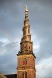 Ο κώνος της εκκλησίας του λυτρωτή μας στην Κοπεγχάγη στοκ φωτογραφίες με δικαίωμα ελεύθερης χρήσης