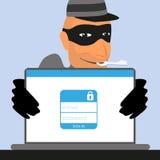 Ο κλέφτης έχει ένα κλειδί για έναν απολογισμό κοινωνικού Στοκ εικόνες με δικαίωμα ελεύθερης χρήσης