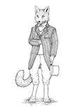 Ο κ. Αλεπού σε ένα σακάκι διανυσματική απεικόνιση