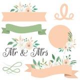 Ο κ. & κα Wedding Peach White Flowers Floral πλαίσιο Watercolor Στοκ Εικόνα