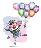 Ο κλόουν με το ρητό μπαλονιών σας ευχαριστεί - χρώματα μωρών Στοκ φωτογραφία με δικαίωμα ελεύθερης χρήσης