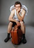 Ο κ. Angel με την καφετιά τσάντα Στοκ Εικόνα
