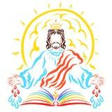 Ο λάμποντας ήλιος πίσω από τον ευλογώντας Λόρδο Ιησούς, το βιβλίο, το χρώμιο διανυσματική απεικόνιση