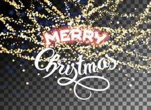 Ο λάμποντας χρυσός Χαρούμενα Χριστούγεννας ακτινοβολεί χιονοπτώσεις Στοκ φωτογραφία με δικαίωμα ελεύθερης χρήσης