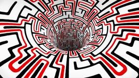 Ο λαβύρινθος λαβύρινθων wormhole διοχετεύει σηράγγων πτήσης άνευ ραφής βρόχων ζωτικότητας δροσερό συμπαθητικό ποιοτικού εκλεκτής  διανυσματική απεικόνιση