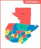 Ο λεπτομερής χάρτης της Γουατεμάλα με τις περιοχές ή τα κράτη και τις πόλεις, κεφάλαιο Διοικητικό τμήμα ελεύθερη απεικόνιση δικαιώματος
