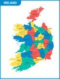 Ο λεπτομερής χάρτης της Ιρλανδίας με τις περιοχές ή τα κράτη και τις πόλεις, κεφάλαια διανυσματική απεικόνιση