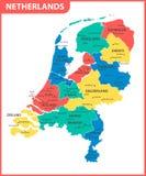 Ο λεπτομερής χάρτης των Κάτω Χωρών με τις περιοχές ή τα κράτη και τις πόλεις, κεφάλαιο Διοικητικό τμήμα διανυσματική απεικόνιση