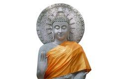 Ο λευκός πέτρινος Βούδας, που απομονώνεται στοκ εικόνα