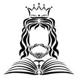Ο Λόρδος Ιησούς στην κορώνα και το μανδύα, το βιβλίο της ζωής, το χρώμιο διανυσματική απεικόνιση