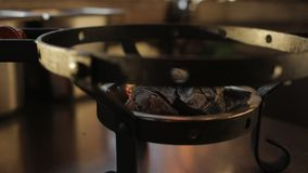 Ο μάγειρας βάζει το πιάτο με το kebab και τα λαχανικά στο δίσκο με τους άνθρακες απόθεμα βίντεο