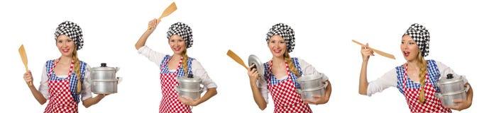 Ο μάγειρας γυναικών που απομονώνεται στο άσπρο υπόβαθρο Στοκ φωτογραφίες με δικαίωμα ελεύθερης χρήσης