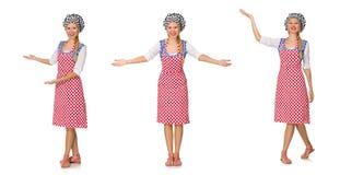 Ο μάγειρας γυναικών που απομονώνεται στο άσπρο υπόβαθρο Στοκ εικόνα με δικαίωμα ελεύθερης χρήσης