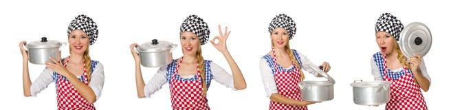 Ο μάγειρας γυναικών που απομονώνεται στο άσπρο υπόβαθρο Στοκ Εικόνες