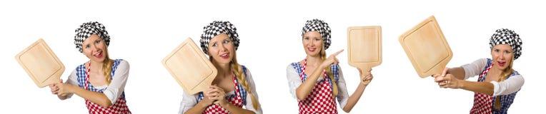 Ο μάγειρας γυναικών που απομονώνεται στο άσπρο υπόβαθρο Στοκ Φωτογραφία
