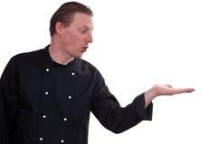 ο μάγειρας δίνει εξωτερικά το φοίνικα εκμετάλλευσής του στοκ εικόνες